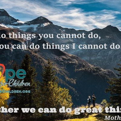 I can do things you can't do, you can do things I can't do; together we can do great things! ~Mother Teresa